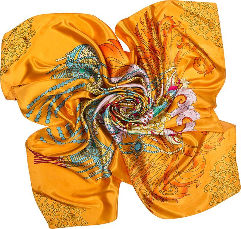 Платок женский Charmante, цвет: оранжевый. SHPA288. Размер 90 см х 90 смSHPA288Нежный на ощупь платок с атласным отливом и ярким абстрактным узором по всей поверхности украсит самый скромный наряд! Классический размер позволяет завязывать и драпировать аксессуар различными способами, создавая красивые переливы цветов и не ломая рисунка. Края обработаны машинным швом. Платок не мнется, не теряет яркости и не садится после стирок.