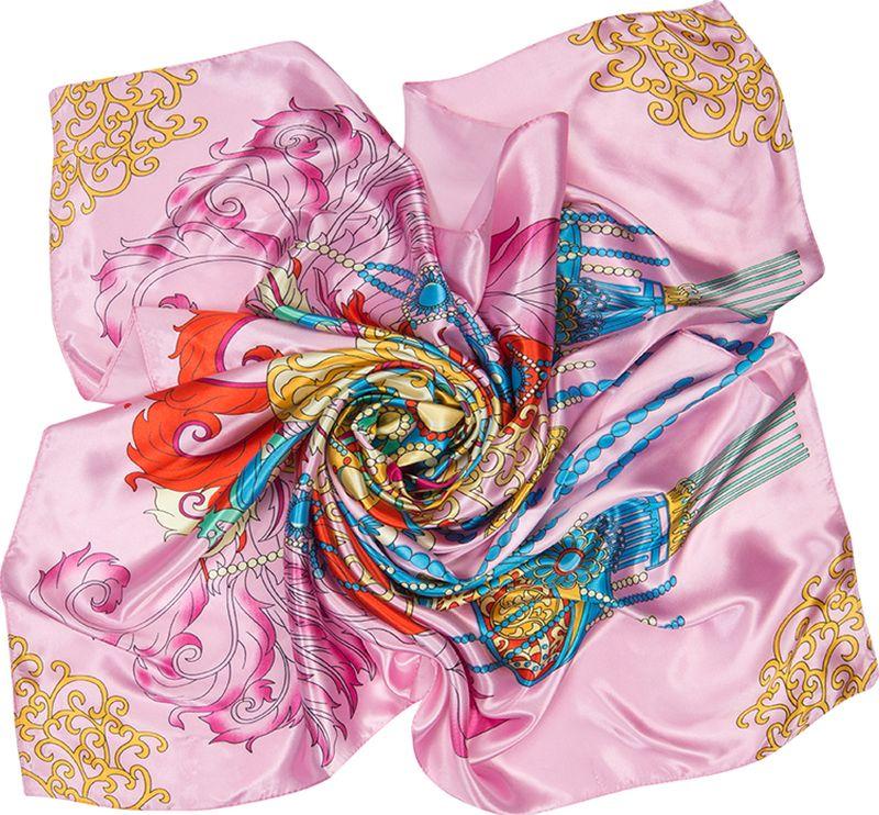 Платок женский Charmante, цвет: розовый. SHPA288. Размер 90 см х 90 смSHPA288Нежный на ощупь платок с атласным отливом и ярким абстрактным узором по всей поверхности украсит самый скромный наряд! Классический размер позволяет завязывать и драпировать аксессуар различными способами, создавая красивые переливы цветов и не ломая рисунка. Края обработаны машинным швом. Платок не мнется, не теряет яркости и не садится после стирок.