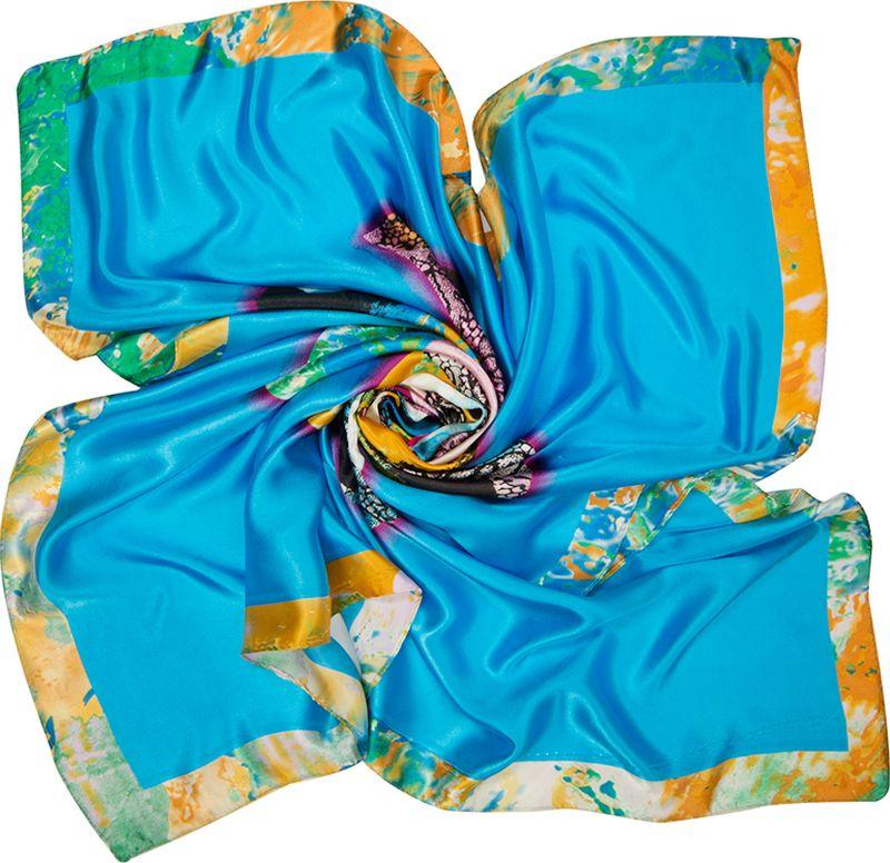 Платок женский Charmante, цвет: голубой. SHPA289. Размер 90 см х 90 смSHPA289Приятный на ощупь шелковистый платок с центральным рисунком цветка и широкими полями. Принт выполнен в оригинальной манере – лепестки, выполненные словно мазками, перемежаются с лепестками, имитирующими кружево. Края обработаны машинным швом. Ткань не мнется, не теряет яркости и не садится после стирок.