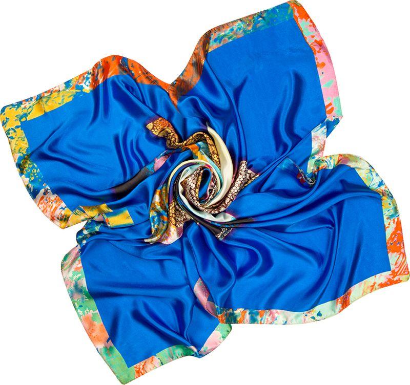 Платок женский Charmante, цвет: синий. SHPA289. Размер 90 см х 90 смSHPA289Приятный на ощупь шелковистый платок с центральным рисунком цветка и широкими полями. Принт выполнен в оригинальной манере – лепестки, выполненные словно мазками, перемежаются с лепестками, имитирующими кружево. Края обработаны машинным швом. Ткань не мнется, не теряет яркости и не садится после стирок.