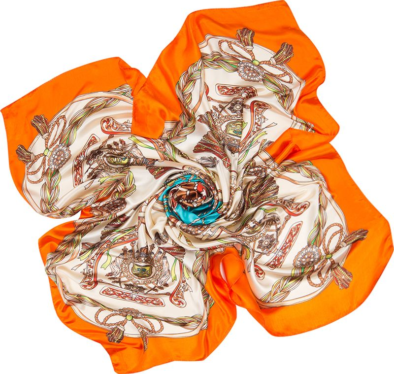 Платок женский Charmante, цвет: оранжевый. SHPA290. Размер 90 см х 90 смSHPA290Платок с атласным отливом и нарядным принтом. Классический размер позволяет завязывать аксессуар разными способами, создавая красивые переходы цветов и не ломая рисунка. Края обработаны машинным швом. Сделает самый простой образ запоминающимся! Ткань не мнется, не теряет яркости и не садится после стирок.
