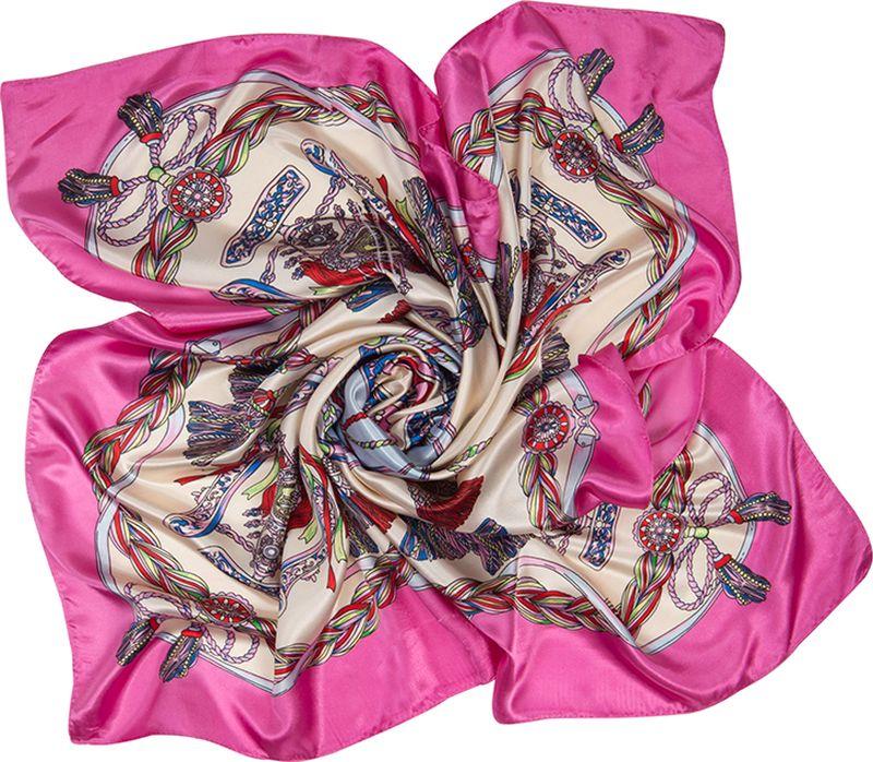 Платок женский Charmante, цвет: розовый. SHPA290. Размер 90 см х 90 смSHPA290Платок с атласным отливом и нарядным принтом. Классический размер позволяет завязывать аксессуар разными способами, создавая красивые переходы цветов и не ломая рисунка. Края обработаны машинным швом. Сделает самый простой образ запоминающимся! Ткань не мнется, не теряет яркости и не садится после стирок.