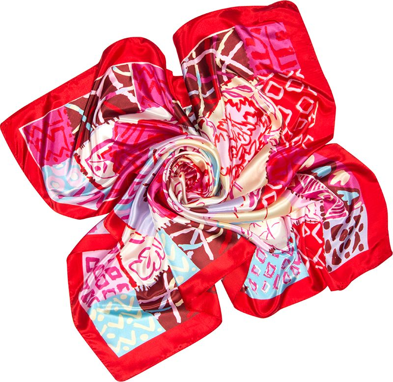 Платок женский Charmante, цвет: красный. SHPA292. Размер 90 см х 90 смSHPA292Нежный на ощупь платок с художественной абстракцией и кантом. Края обработаны машинным швом. Благодаря богатой цветовой гамме на изделии платок сочетается с большим количеством предметов одежды. Платок не мнется, не теряет яркости и не садится после стирок.