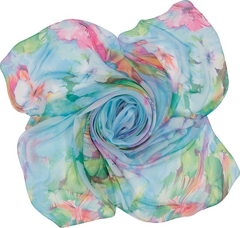 Платок женский Charmante, цвет: голубой. SHPF301. Размер 140 см х 140 смSHPF301Легкий воздушный платок с акварельными цветочными рисунками. Аксессуар не мнется и прекрасно драпируется, создавая красивые переливы цвета. Края обработаны машинным швом. Универсальный предмет женского гардероба.