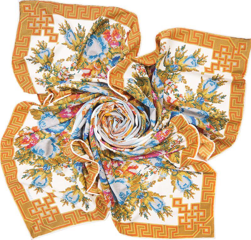 Платок женский Charmante, цвет: белый. SHSA338. Размер 125 см х 125 смSHSA338Нарядный платок в стиле пэчворк, украшенный принтом с эффектом вышивки крестиком. Тонкий легкий материал содержит шелк и полиэстер, - платок нежный и мягкий, отлично держит форму, красиво драпируется. По внешней стороне изделия края аккуратно подогнуты потайным швом, благодаря чему образуется кант.