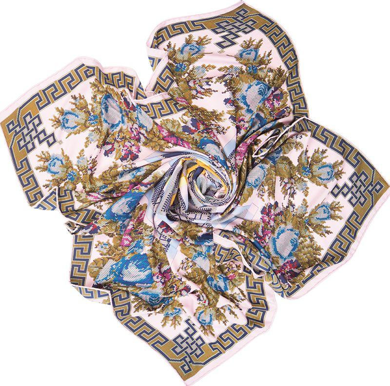 Платок женский Charmante, цвет: розовый. SHSA338. Размер 125 см х 125 смSHSA338Нарядный платок в стиле пэчворк, украшенный принтом с эффектом вышивки крестиком. Тонкий легкий материал содержит шелк и полиэстер, - платок нежный и мягкий, отлично держит форму, красиво драпируется. По внешней стороне изделия края аккуратно подогнуты потайным швом, благодаря чему образуется кант.