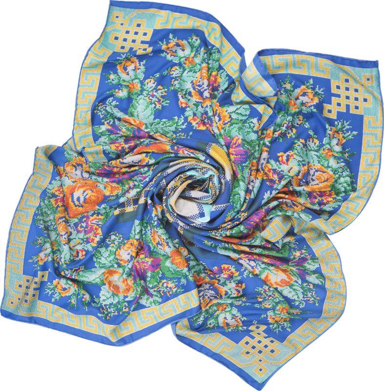 Платок женский Charmante, цвет: синий. SHSA338. Размер 125 см х 125 смSHSA338Нарядный платок в стиле пэчворк, украшенный принтом с эффектом вышивки крестиком. Тонкий легкий материал содержит шелк и полиэстер, - платок нежный и мягкий, отлично держит форму, красиво драпируется. По внешней стороне изделия края аккуратно подогнуты потайным швом, благодаря чему образуется кант.