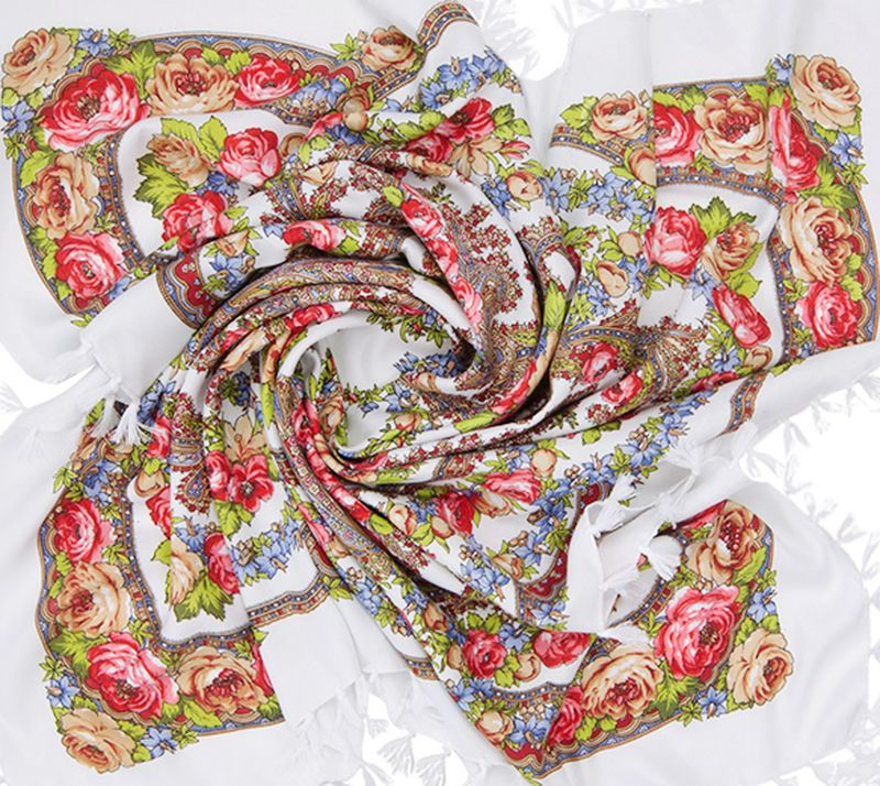 Платок женский Charmante, цвет: белый, красный. SHVIST350. Размер 92 см х 92 смSHVIST350Мягкий и уютный платок из вискозы с добавлением шерсти не только подчеркнет стиль, но и согреет вас в прохладную погоду. Платок выполнен в сочетании цветочного принта и восточного узора пейсли. Края подшиты и декорированы кисточками, углы – подвесными кистями.