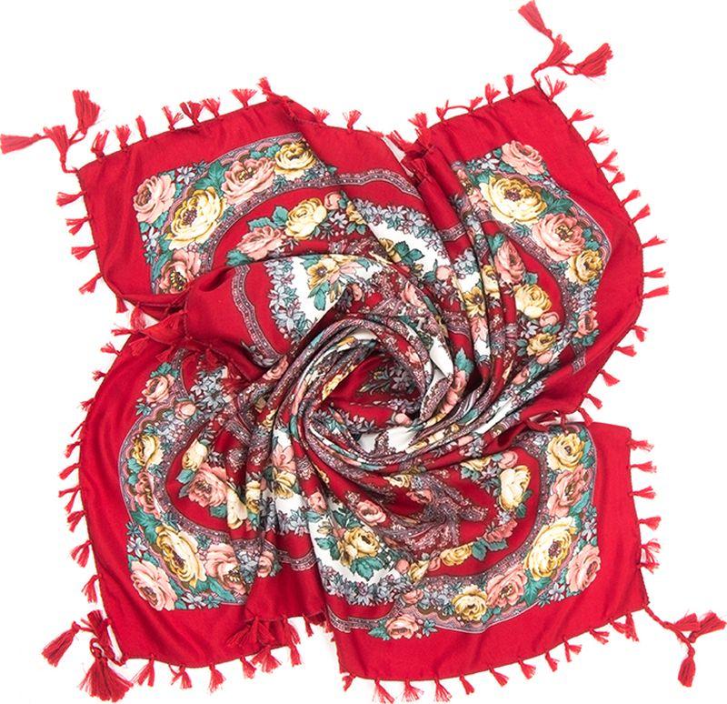 Платок женский Charmante, цвет: бордовый. SHVIST350. Размер 92 см х 92 смSHVIST350Мягкий и уютный платок из вискозы с добавлением шерсти не только подчеркнет стиль, но и согреет вас в прохладную погоду. Платок выполнен в сочетании цветочного принта и восточного узора пейсли. Края подшиты и декорированы кисточками, углы – подвесными кистями.