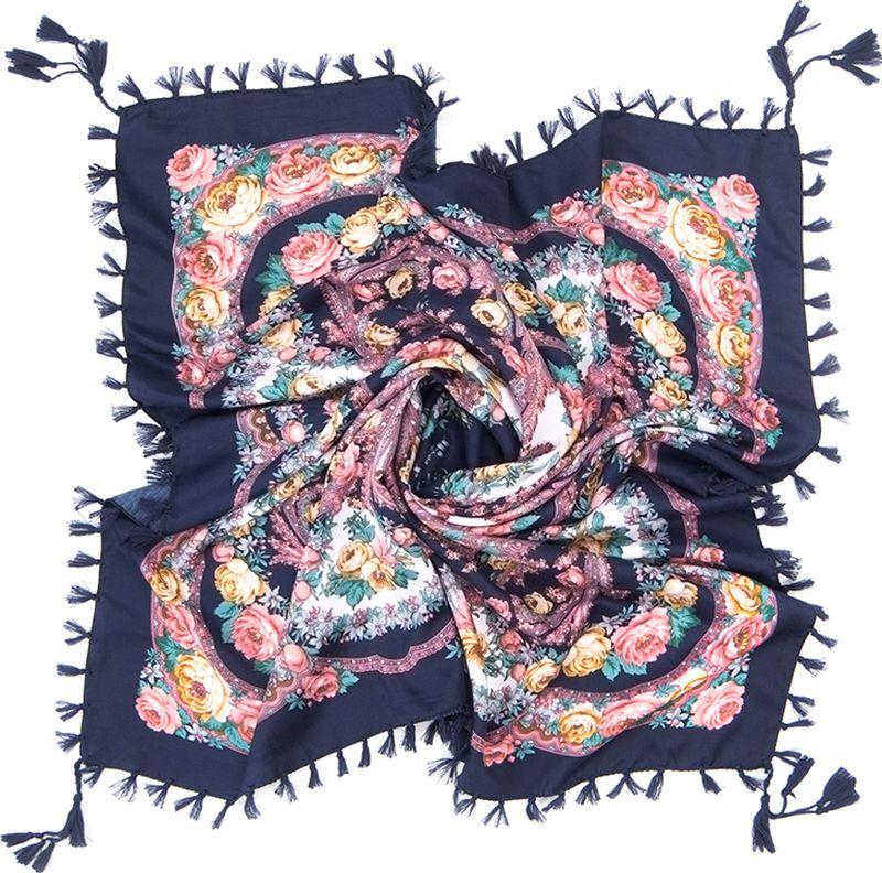 Платок женский Charmante, цвет: темно-синий. SHVIST350. Размер 92 см х 92 смSHVIST350Мягкий и уютный платок из вискозы с добавлением шерсти не только подчеркнет стиль, но и согреет вас в прохладную погоду. Платок выполнен в сочетании цветочного принта и восточного узора пейсли. Края подшиты и декорированы кисточками, углы – подвесными кистями.