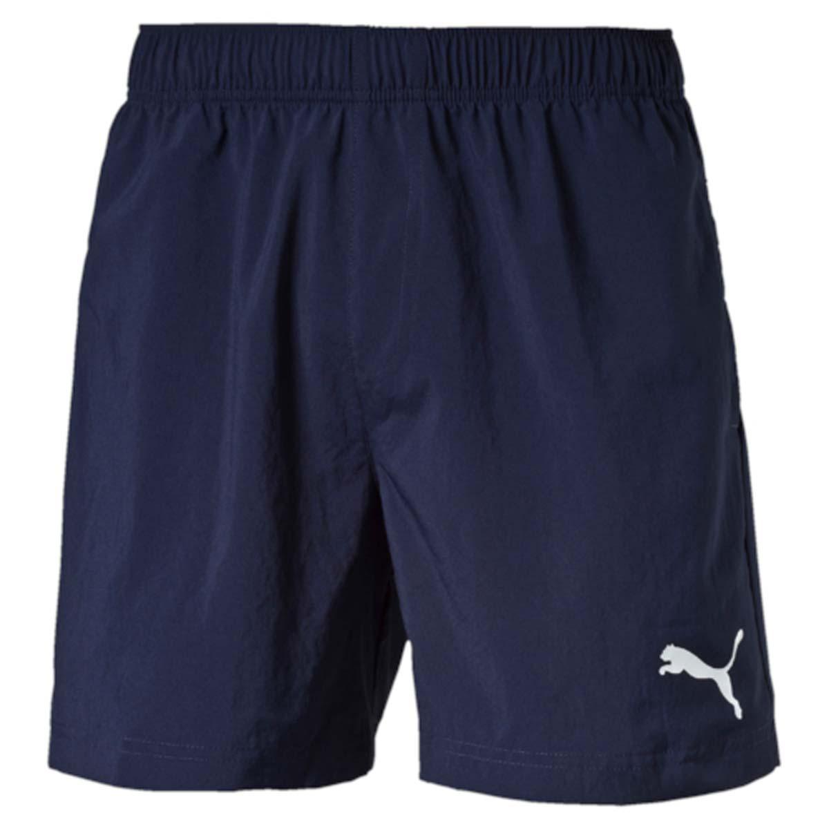 Шорты мужские Puma Ess Woven Shorts 5, цвет: синий. 838271_06. Размер XXL (54/56)838271_06Шорты ESS Woven Shorts 5 - отличное сочетание функциональности и комфорта. Эластичная ткань выдерживает серьезные нагрузки, не теряя своих свойств. Модель скроена таким образом, чтобы шорты не вызывали ощущения дискомфорта даже при активных движениях. Среди других особенностей изделия - эластичный пояс с продернутыми в нем затягивающимися шнурами, боковые карманы, а также нашитая сверху задняя кокетка для лучшей посадки по фигуре. Шорты декорированы логотипом PUMA, нанесенным методом глянцевой печати.