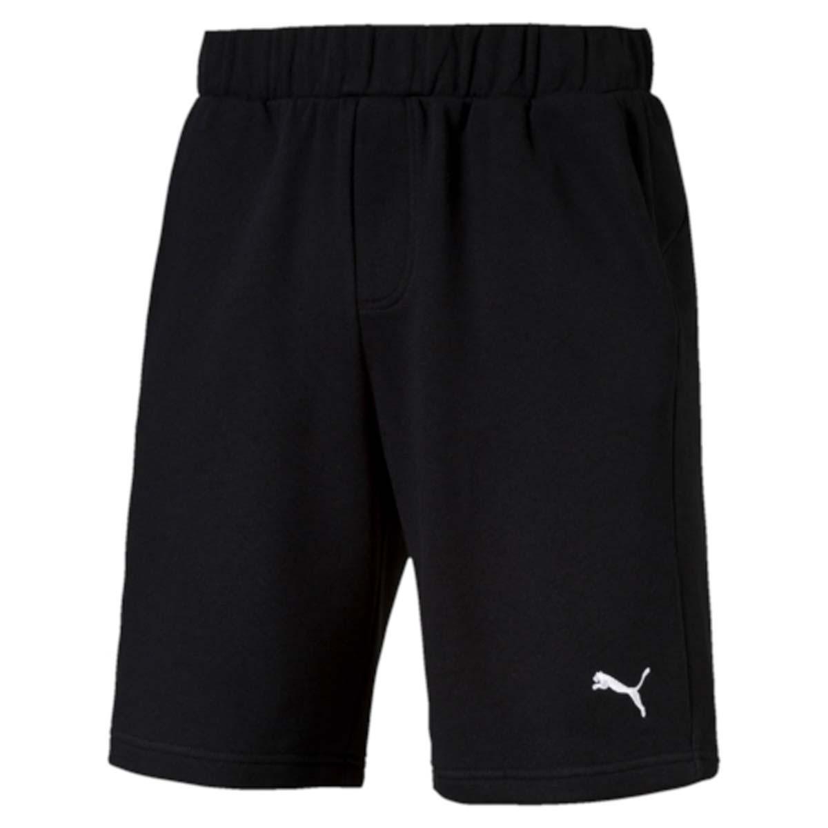 Шорты мужские Puma Ess Sweat Shorts 9, цвет: черный. 838260_01. Размер M (46/48)838260_01Шорты ESS Sweat Shorts 9, выполненные из хлопка и полиэстера, прекрасно подойдут для ежедневного использования, а также для тренировок. Шорты декорированы вышитым логотипом PUMA. Среди других отличительных особенностей изделия - пояс из его основного материала с продернутым затягивающимся шнуром, карманы в швах, а также нашитая сверху задняя кокетка для лучшей посадки по фигуре.