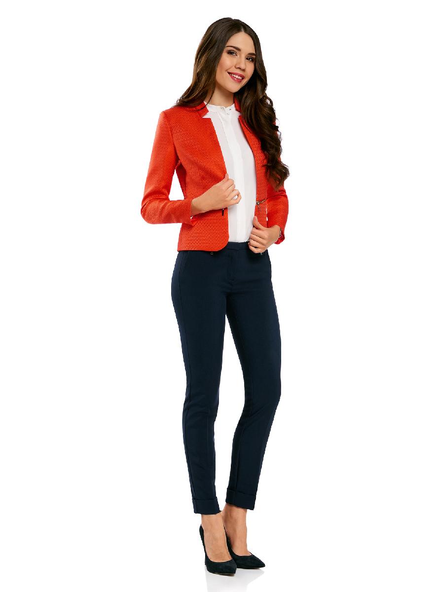 Жакет женский oodji Ultra, цвет: красный. 11202060-2/45367/4500N. Размер 34-170 (40-170)11202060-2/45367/4500NЖакет-трансформер с отстегивающимся низом