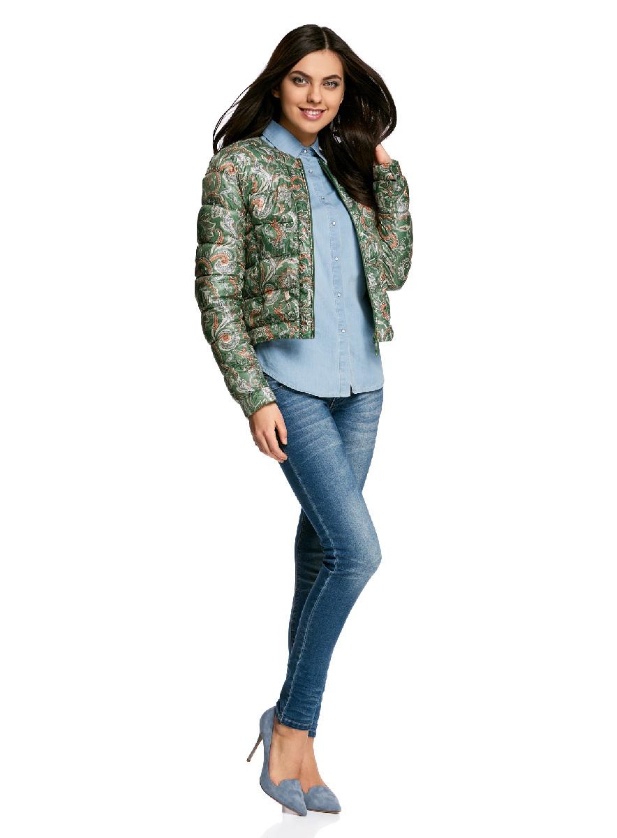 Куртка женская oodji Ultra, цвет: темно-зеленый, оранжевый. 10203050-1B/42257/6955E. Размер 38-170 (44-170)10203050-1B/42257/6955EСтеганая куртка oodji Ultra выполнена из высококачественного материала. Модель с круглым вырезом горловины утеплена тонким слоем синтепона и застегивается на молнию. Куртка прекрасно смотрится и с платьем и с джинсами, что делает ее незаменимой для городских будней. Манжеты рукавов дополнены застежками кнопками.