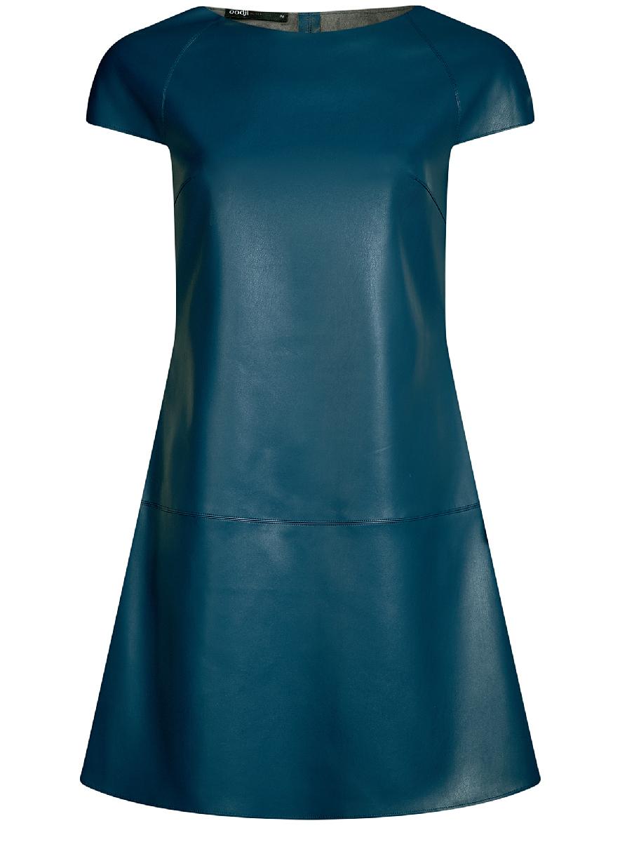 Платье oodji Ultra, цвет: голубой. 18L01002/45902/7400N. Размер 38-170 (44-170)18L01002/45902/7400NСтильное приталенное платье oodji Ultra выполнено из искусственной кожи. Модель мини-длины с коротким рукавами и круглым вырезом горловины дополнена декоративными металлическими молниями на плечах.