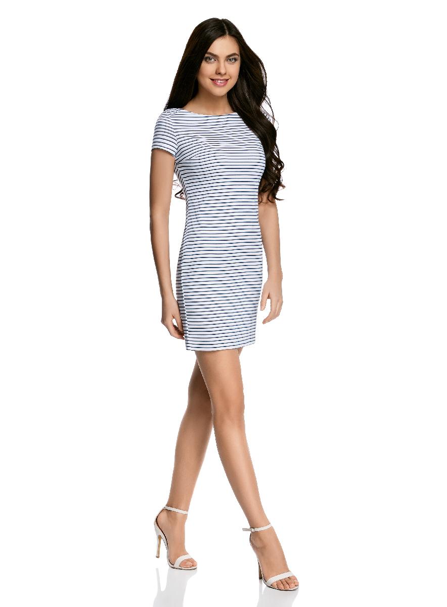 Платье oodji Ultra, цвет: белый, темно-синий. 14001117-5B/46674/1079S. Размер XS (42-170)14001117-5B/46674/1079SЛаконичное облегающее платье oodji Ultra выполнено из качественного трикотажа и оформлено принтом в тонкую полоску. Модель мини-длины с вырезом-лодочкойи короткими рукавами выгодно подчеркивает достоинства фигуры.
