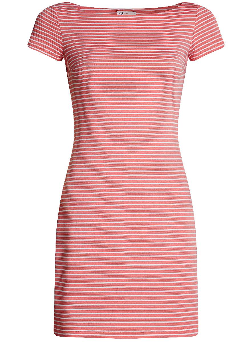 Платье oodji Ultra, цвет: розовый, белый. 14001117-5B/46674/4110S. Размер XL (50-170)14001117-5B/46674/4110SЛаконичное облегающее платье oodji Ultra выполнено из качественного трикотажа и оформлено принтом в тонкую полоску. Модель мини-длины с вырезом-лодочкойи короткими рукавами выгодно подчеркивает достоинства фигуры.