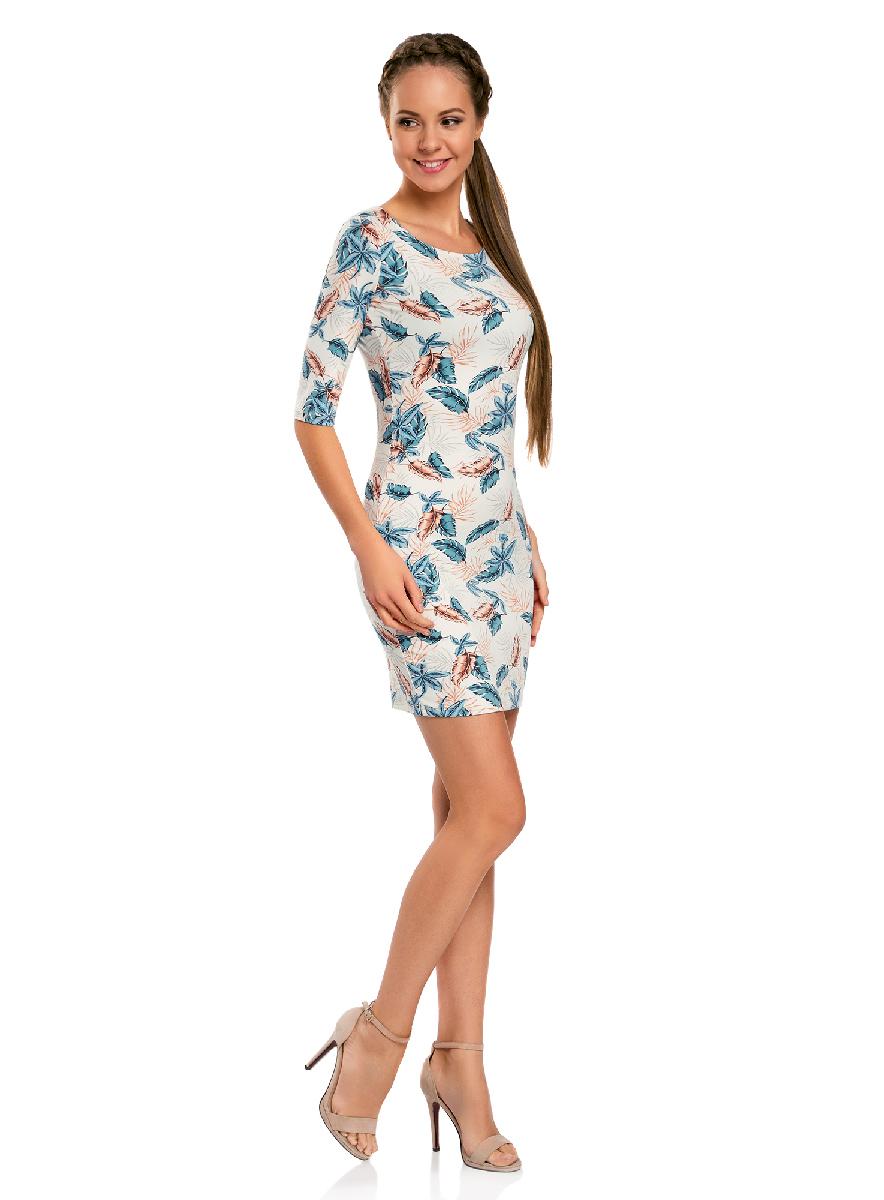 Платье oodji Ultra, цвет: белый, бирюзовый. 14001121-3B/16300/1273F. Размер XS (42-170)14001121-3B/16300/1273FОблегающее платье oodji Ultra выполнено из качественного трикотажа и оформлено оригинальным принтом. Модель мини-длины с круглым вырезом горловиныи рукавами средней длинывыгодно подчеркивает достоинства фигуры.