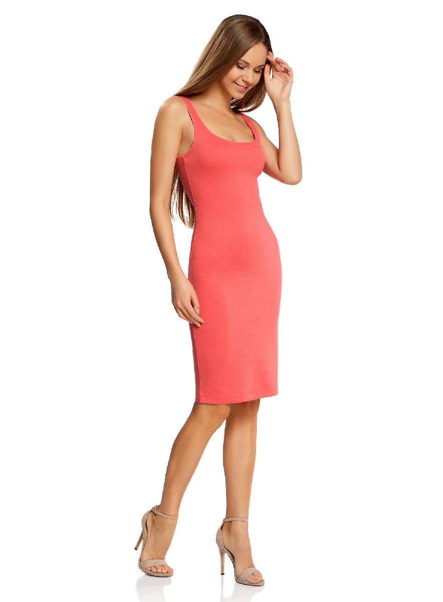Платье oodji Ultra, цвет: ярко-розовый. 14015007-4B/45456/4D00N. Размер XS (42-170)14015007-4B/45456/4D00NЛегкое обтягивающее платье oodji Ultra, выгодно подчеркивающее достоинства фигуры, выполнено из качественного трикотажа. Модель миди-длины с круглым вырезом горловины и узкими бретелями дополнена разрезом на юбке с задней стороны.
