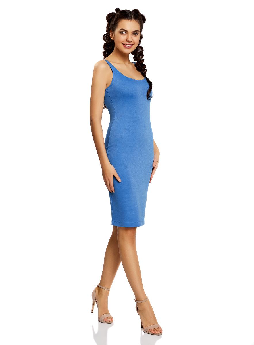 Платье oodji Ultra, цвет: голубой. 14015007-4B/45456/7500N. Размер XS (42-170)14015007-4B/45456/7500NЛегкое обтягивающее платье oodji Ultra, выгодно подчеркивающее достоинства фигуры, выполнено из качественного трикотажа. Модель миди-длины с круглым вырезом горловины и узкими бретелями дополнена разрезом на юбке с задней стороны.