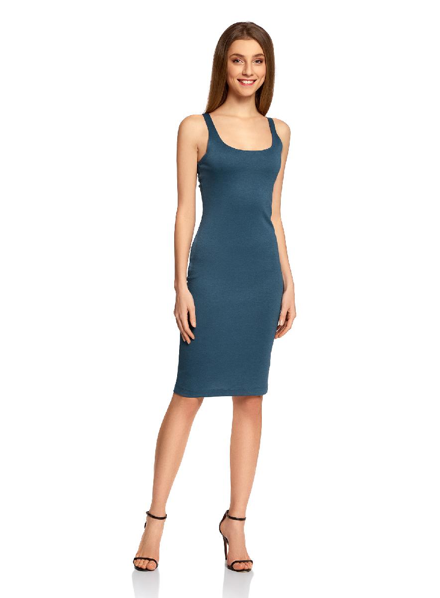 Платье oodji Ultra, цвет: синий. 14015007-4B/45456/7400N. Размер XS (42-170)14015007-4B/45456/7400NЛегкое обтягивающее платье oodji Ultra, выгодно подчеркивающее достоинства фигуры, выполнено из качественного трикотажа. Модель миди-длины с круглым вырезом горловины и узкими бретелями дополнена разрезом на юбке с задней стороны.