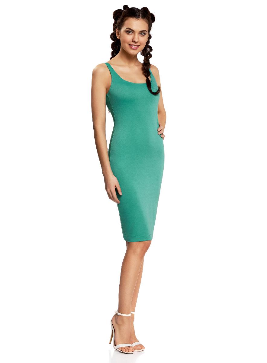 Платье oodji Ultra, цвет: изумрудный. 14015007-4B/45456/6D00N. Размер L (48-170)14015007-4B/45456/6D00NЛегкое обтягивающее платье oodji Ultra, выгодно подчеркивающее достоинства фигуры, выполнено из качественного трикотажа. Модель миди-длины с круглым вырезом горловины и узкими бретелями дополнена разрезом на юбке с задней стороны.