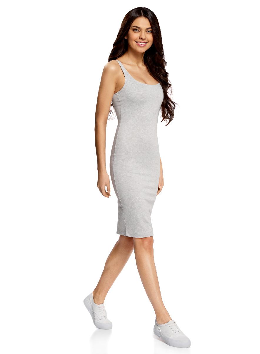 Платье oodji Ultra, цвет: светло-серый меланж. 14015007-4B/45456/2000M. Размер XS (42-170)14015007-4B/45456/2000MЛегкое обтягивающее платье oodji Ultra, выгодно подчеркивающее достоинства фигуры, выполнено из качественного трикотажа. Модель миди-длины с круглым вырезом горловины и узкими бретелями дополнена разрезом на юбке с задней стороны.