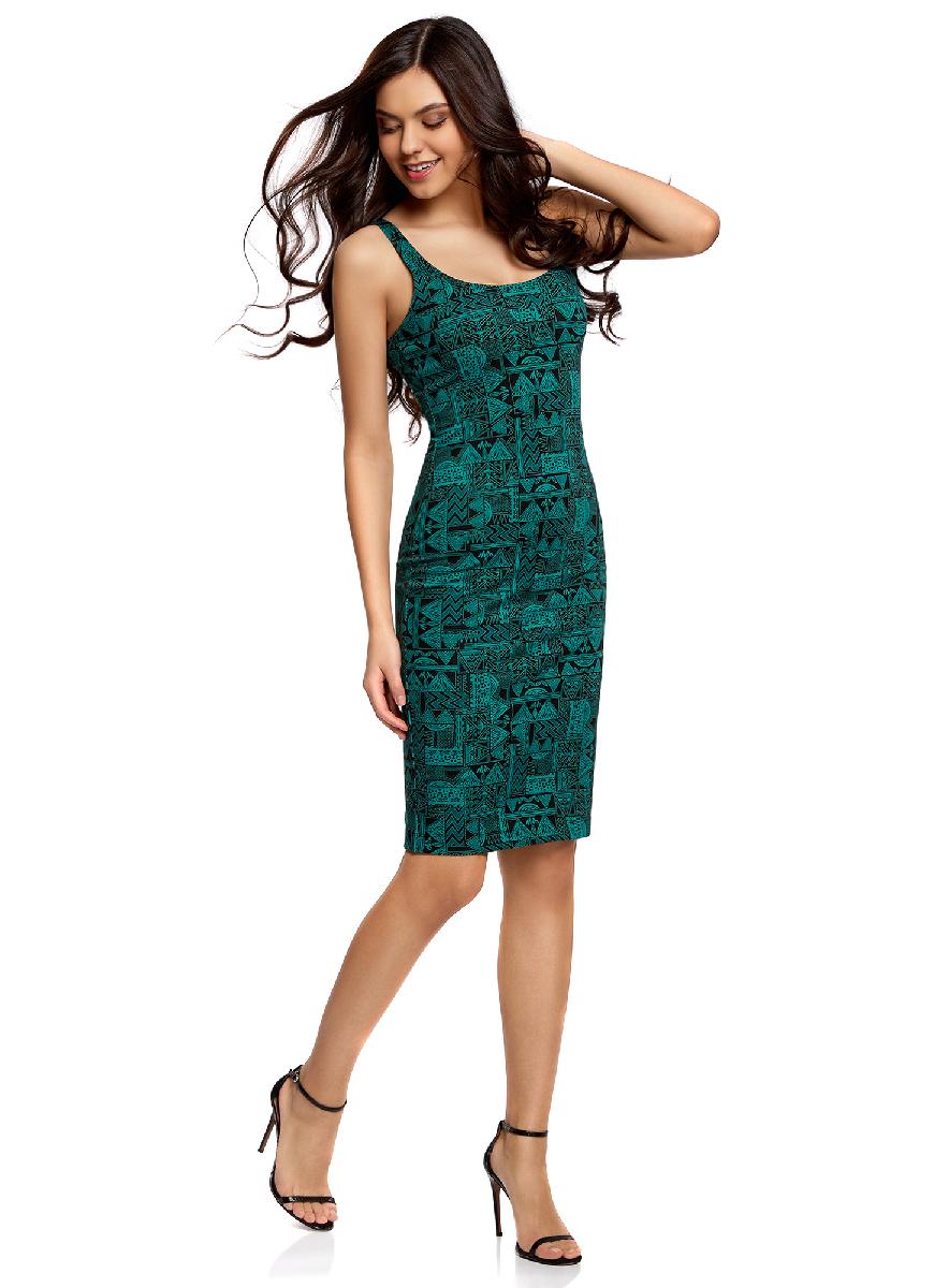 Платье oodji Ultra, цвет: черный, изумрудный. 14015007-3M/37809/296DG. Размер XXS (40-170)14015007-3M/37809/296DGЛегкое обтягивающее платье oodji Ultra, выгодно подчеркивающее достоинства фигуры, выполнено из качественного трикотажа. Модель миди-длины с круглым вырезом горловины и узкими бретелями оформлена оригинальным узором. Юбка с задней стороны дополнена разрезом.