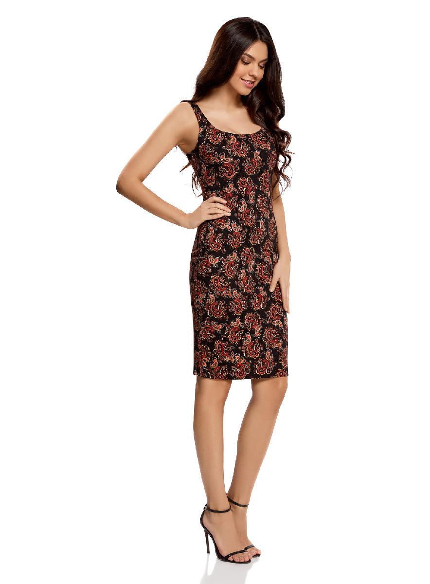 Платье oodji Ultra, цвет: черный, красный. 14015007-3B/37809/2945E. Размер S (44-170)14015007-3B/37809/2945EЛегкое обтягивающее платье oodji Ultra, выгодно подчеркивающее достоинства фигуры, выполнено из качественного трикотажа. Модель миди-длины с круглым вырезом горловины и узкими бретелями оформлена оригинальным узором. Юбка с задней стороны дополнена разрезом.