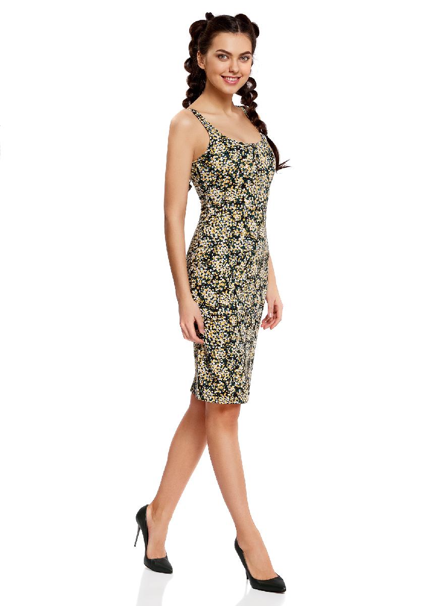 Платье oodji Ultra, цвет: черный, белый. 14015007-3B/37809/2912F. Размер S (44-170)14015007-3B/37809/2912FЛегкое обтягивающее платье oodji Ultra, выгодно подчеркивающее достоинства фигуры, выполнено из качественного трикотажа. Модель миди-длины с круглым вырезом горловины и узкими бретелями оформлена оригинальным узором. Юбка с задней стороны дополнена разрезом.
