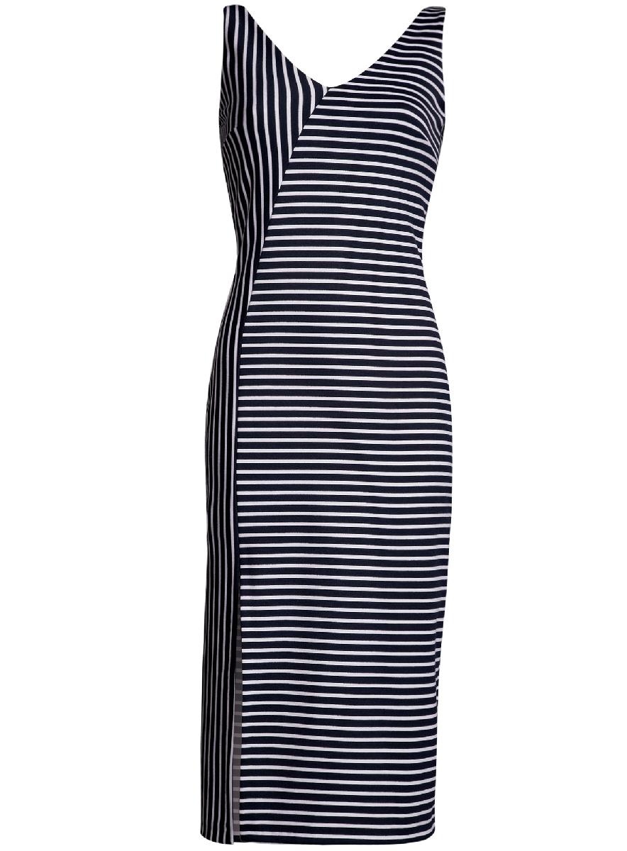 Платье oodji Ultra, цвет: темно-синий, белый. 14015014/37809/7912S. Размер XS (42-170)14015014/37809/7912SСтильное платье с вырезом на спине oodji Ultra выгодно подчеркнет достоинства фигуры. Модель ассиметричного кроя с открытыми плечами и V-образным вырезом горловины застегивается на скрытую застежку-молнию на спинке. Спереди подол платья дополнен разрезом.