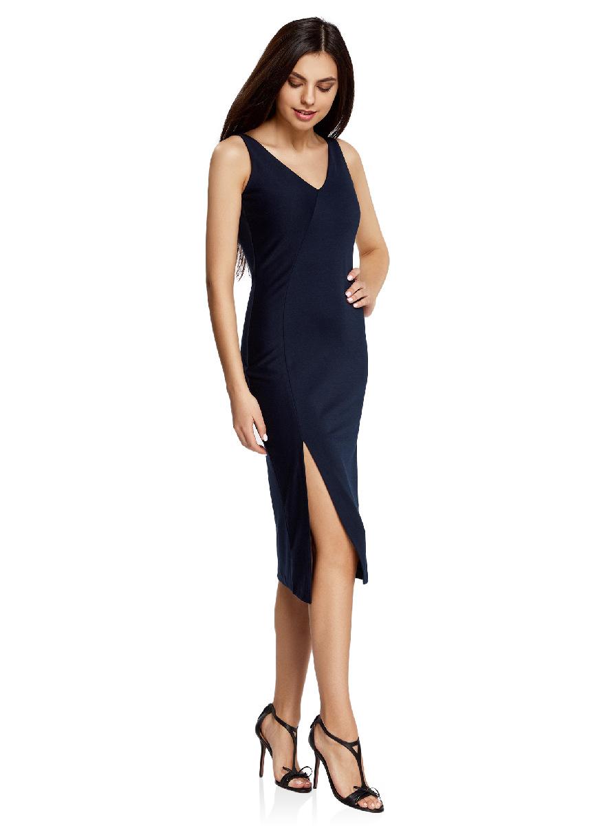 Платье oodji Ultra, цвет: темно-синий. 14015014/37809/7900N. Размер M (46-170)14015014/37809/7900NСтильное платье с вырезом на спине oodji Ultra выгодно подчеркнет достоинства фигуры. Модель ассиметричного кроя с открытыми плечами и V-образным вырезом горловины застегивается на скрытую застежку-молнию на спинке. Спереди подол платья дополнен разрезом.