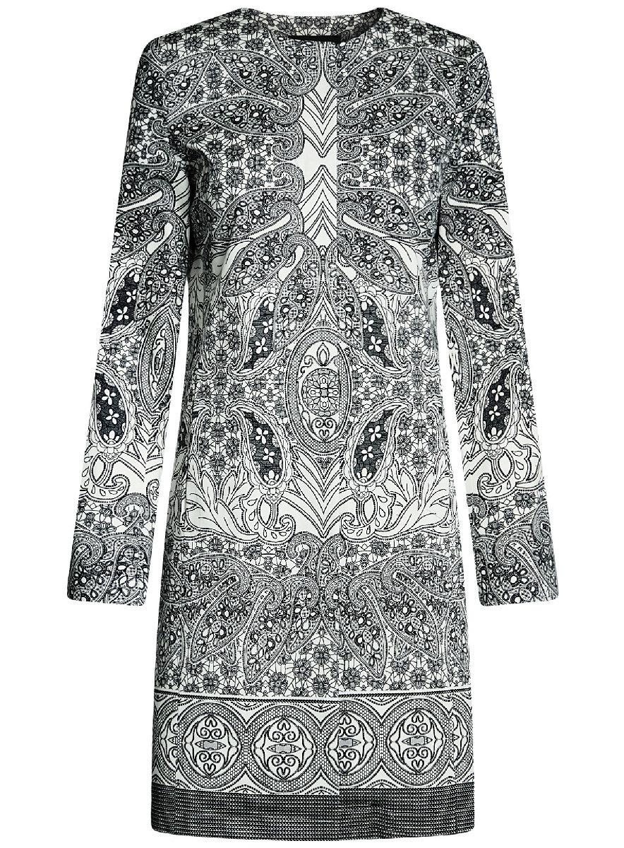 Пальто женский oodji Ultra, цвет: белый, черный. 10403002-2/14522/1229E. Размер 34-170 (40-170)10403002-2/14522/1229EПлащ на кнопках принтованный