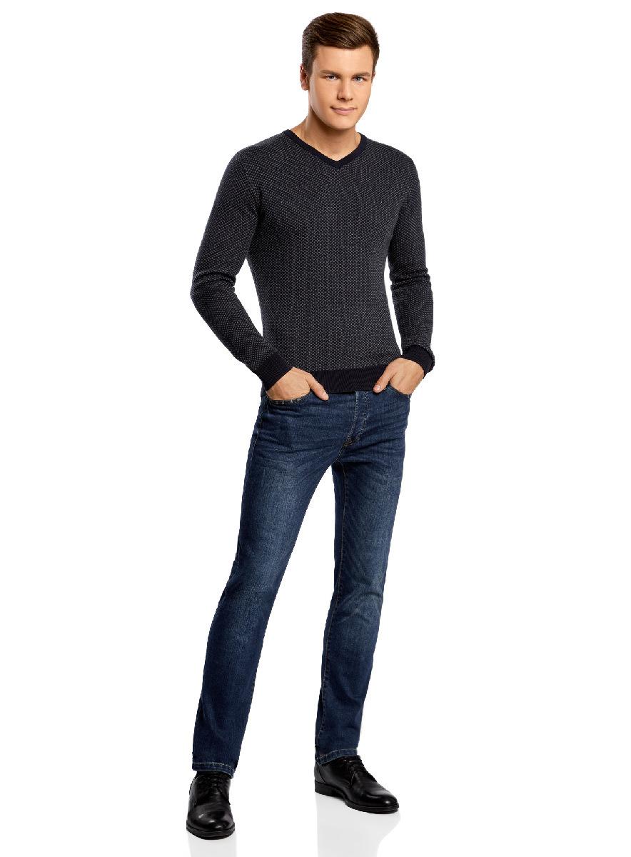 Пуловер мужской oodji Lab, цвет: темно-синий, темно-серый. 4L212139M/21166N/7925J. Размер XL (56)4L212139M/21166N/7925JМужской пуловер от oodji выполнен из хлопковой пряжи. Модель с мелким жаккардовым узором, V-образным вырезом горловины и длинными рукавами.