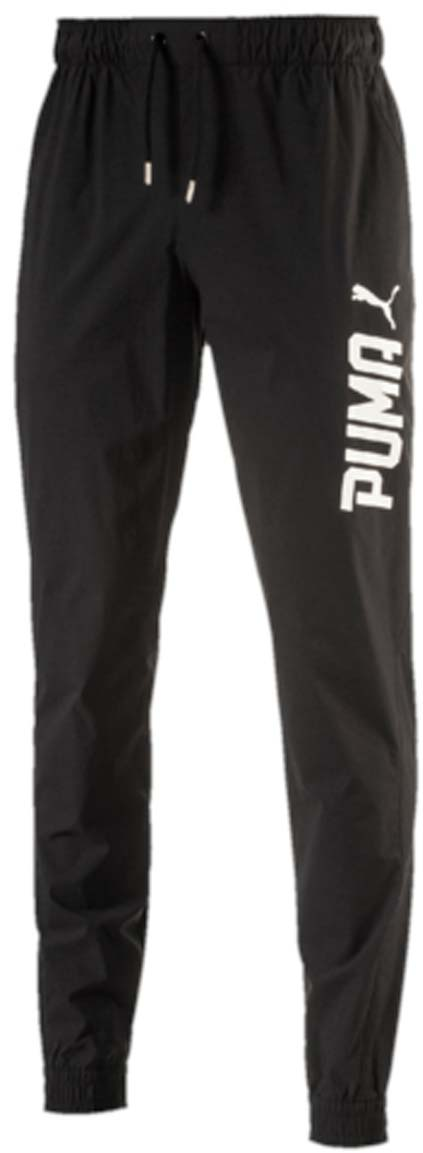 Брюки спортивные мужские Puma Style Tec Woven Pants, цвет: черный. 59103501. Размер M (48/50)59103501Мужские спортивные брюки Style Tec Woven Pants выполнены из нейлона с добавлением эластана. Легкий и прекрасно растягивающийся материал изделия обеспечивает комфорт. Брюки посажены на пояс из эластичного материала с затягивающимся шнуром. Изделие имеет стандартную посадку с чуть заниженной талией. В боковых швах имеются карманы. Сами швы выполнены с нахлестом вперед. Сзади изделие посажено на кокетку. Также сзади имеется накладной карман. Манжеты по низу штанин выполнены из эластичного трикотажа. Брюки декорированы объемными прорезиненными логотипами PUMA спереди наверху на правой штанине и сзади внизу на левой штанине.