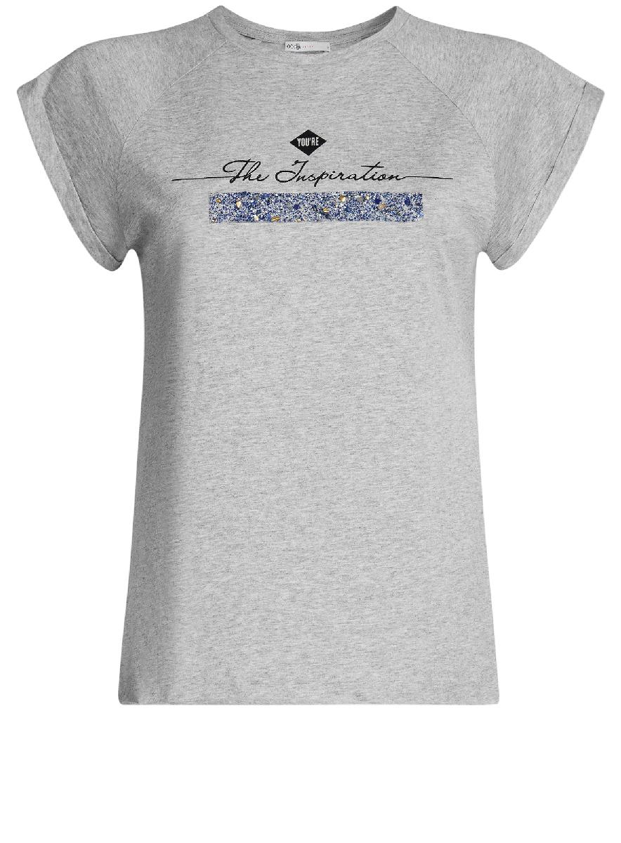 Футболка женская oodji Ultra, цвет: светло-серый, черный. 14707001-8/26204/2029Z. Размер XL (50)14707001-8/26204/2029ZФутболка с короткими рукавами-реглан и круглым вырезом горловины выполнена из натурального хлопка. На груди модель декорирована надписью.
