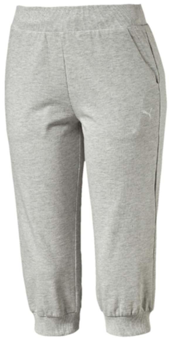Капри женские Puma ESS Capri Sweat Pants W, цвет: серый. 83842404. Размер M (44/46)83842404Капри ESS Capri Sweat Pants W изготовлены из хлопка с добавлением полиэстера. Модель декорирована вышитым логотипом PUMA. Среди других особенностей изделия - пояс из трикотажа в резинку с затягивающимся шнуром, боковые швы с нахлестом вперед и манжеты из трикотажа в резинку. Изделие имеет стандартную посадку.