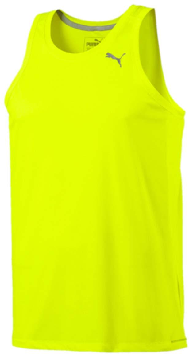 Майка мужская Puma Core-Run Singlet, цвет: желтый. 51500705. Размер S (46/48)51500705Спортивная майка без рукавов Core-Run Singlet изготовлена из полиэстера с использованием высокофункциональной технологии dryCELL, которая отводит влагу, поддерживает тело сухим и гарантирует комфорт во время активных тренировок и занятий спортом. Легкий супердышащий материал изделия прекрасно держит форму и обеспечивает полный комфорт. Логотип и другие декоративные элементы, в том числе тесьма с внутренней стороны ворота выполнены из светоотражающего материала для безопасности в темное время суток. Плоские швы не натирают кожу и обеспечивают непревзойденный комфорт.