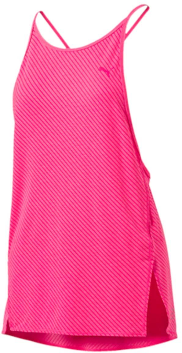 Майка женская Puma Dancer Drapey Tee, цвет: розовый. 515120_03. Размер XS (40/42)515120_03Майка Dancer Drapey Tee станет незаменимой частью вашего гардероба для занятий спортом. Ничто не сравнится с любимым бюстгальтером, облегающим как вторая кожа и мягко поддерживающим грудь. Поэтому данная модель просто создана для того, чтобы надеть ее поверх бюстгальтера и отправиться на самую интенсивную тренировку. Оригинальный узор, нанесенный методом выжигания, не даст перегреться. В дизайне этого изделия найден идеальный баланс элегантности и функциональности. Дополнительные удобства создает использование высокофункциональной технологии dryCELL, которая отводит влагу, поддерживает тело сухим и гарантирует комфорт во время активных тренировок и занятий спортом. Благодаря свободному крою и широким проймам ничто не стесняет движений. Майка украшена логотипом PUMA, нанесенным на груди слева.