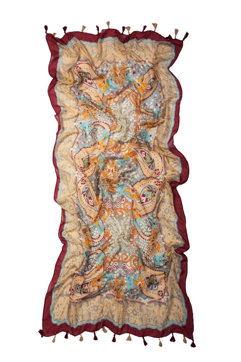 Палантин Laccom, цвет: бордовый. 3229P. Размер 185 см x 87 см3229PПалантин Laccom выполнен из высококачественного материала и оформлен стильным принтом и кисточками. Изделие приятно на ощупь и подойдет к любому стилю.