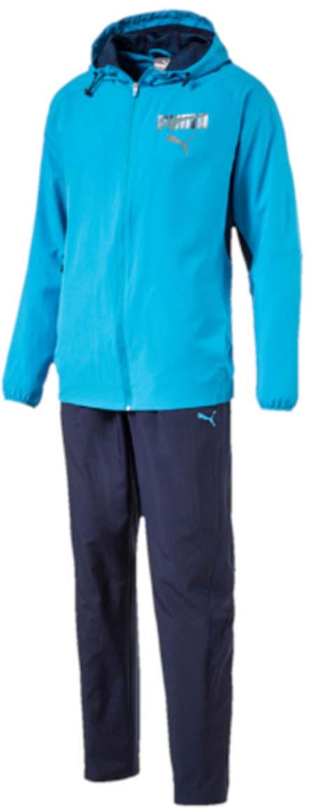Костюм спортивный мужской Puma Active Hooded Graphic Suit, цвет: голубой, синий. 59090011. Размер S (44/46)59090011Костюм спортивный мужской Active Hooded Graphic Suit отлично подойдет для тренировок, он обеспечит свободу движений и комфорт во время занятий. Костюм выполнен из 100% полиэстера. Куртка застегивается на молнию, имеет воротник-стойку с капюшоном, длинные рукава и боковые карманы. Форма капюшона регулируется с помощью затягивающихся шнурков. Пояс и манжеты куртки отделаны эластичными резинками. В области подмышек предусмотрены сетчатые вставки для лучшей вентиляции. Брюки прямые, без манжет внизу, пояс брюк снабжен эластичным материалом с регулируемым шнуром. Сетчатые вставки по бокам штанин улучшают циркуляцию воздуха. Куртка декорирована графическим рисунком, нанесенным сочетанием пигментной и глянцевой печати. Брюки также декорированы логотипом PUMA.
