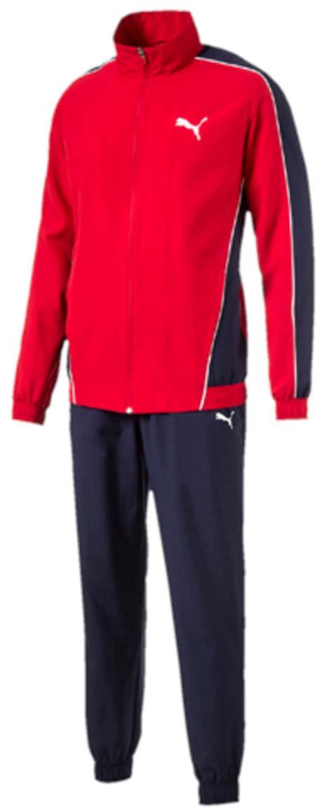 Костюм спортивный мужской Puma Flash Woven Suit op, цвет: красный, синий. 590888_09. Размер L (48/50)590888_09Костюм спортивный мужской Flash Woven Suit op отлично подойдет для тренировок, он обеспечит свободу движений и комфорт во время занятий. Костюм выполнен из 100% полиэстера. Куртка застегивается на молнию, имеет воротник-стойку, длинные рукава и боковые карманы. Пояс и манжеты отделаны эластичным трикотажем в резинку. Пояс брюк из эластичного материала снабжен затягивающимся шнуром, манжеты понизу штанин выполнены из эластичного трикотажа. Куртка декорирована логотипом PUMA и контрастной отделкой швов на рукавах и боках. Брюки также декорированы логотипом PUMA.
