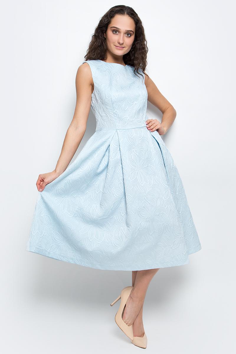 Платье Baon, цвет: голубой. B457063_Blizzard Jacquard. Размер M (46)B457063_Blizzard JacquardСтильное платье Baon выполнено из высококачественного комбинированного материала с жаккардовым узором. Модель приталенного силуэта, без рукавов имеет круглый вырез горловины и пышную юбку. Платье застегивается на потайную застежку-молнию на спинке. В таком платье вы будете выглядеть женственно и элегантно.