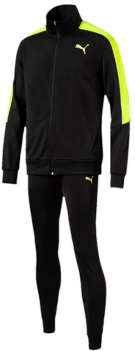 Костюм спортивный мужской Puma Line Suit Tricot, цвет: черный, желтый. 59088501. Размер S (46/48)59088501Спортивный костюм Line Suit Tricot идеален для занятий спортом и прогулок на свежем воздухе. Особый крой куртки гарантирует свободу движений и комфорт. Пояс и манжеты выполнены из плотного трикотажа в резинку. Куртка также снабжена практичной застежкой-молнией и боковыми карманами. Узкие брюки обеспечивают плотную посадку. Пояс брюк из эластичного материала снабжен затягивающимся шнуром. Манжеты по низу штанин выполнены из трикотажа в резинку. Куртка декорирована логотипом PUMA и контрастной отделкой на плечах. Брюки также декорированы логотипом PUMA.