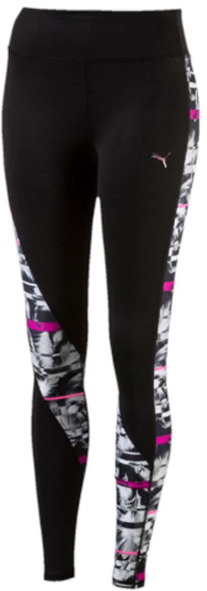 Тайтсы для бега женские Puma CLASH Tight, цвет: черный, белый, розовый. 515124_01. Размер XXS (38/40)515124_01Женские тайтсы для бега CLASH Tight оригинального фасона и расцветки станут вашей любимой моделью, потому что они не только отлично подходят для занятий спортом и активного отдыха, но и привлекают внимание своим неповторимым стилем. Дополнительные удобства создает использование высокофункциональной технологии dryCELL, которая отводит влагу, поддерживает тело сухим и гарантирует комфорт во время активных тренировок и занятий спортом. Широкий пояс мягко поддерживает живот и охватывает талию, он также снабжен карманами из плотного материала для смартфона и других ценностей. Смелая контрастная расцветка, характерная для всей линейки CLASH, дополняется интересным рисунком на всей поверхности изделия.