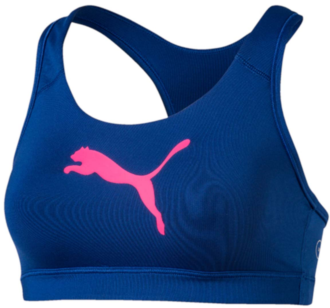 Топ-бра для фитнеса Puma PWRSHAPE Forever, цвет: синий, розовый. 513965_28. Размер L (48)513965_28Этот спортивный бюстгальтер-топ станет вашей любимой моделью, потому что он - незаменимая часть вашего гардероба для занятий спортом и активного отдыха! Отличный дизайн обеспечивает универсальность, поэтому бюстгальтер можно надевать в тренажерный зал, на занятие всеми видами фитнеса, на пробежку. Дополнительные удобства создаются за счет использования высокофункциональной технологии dryCELL, которая отводит влагу, поддерживает тело сухим и гарантирует комфорт во время активных тренировок и занятий спортом. Наплечные лямки с мягкой подложкой, не перекрещивающиеся на спине, не натирают, не давят, а также обеспечивают полную свободу движений и удобство надевания изделия благодаря функциональному крою спины. Отделка низа сверхэластичным плотным материалом создает дополнительную поддержку. Бюстгальтер декорирован спереди логотипом PUMA из светоотражающего материала, нанесенным методом термопечати, благодаря которому вас лучше видно в темное время суток. На нижний край изделия методом термопечати нанесен логотип dryCELL. Модель подходит для всех видов физической активности.