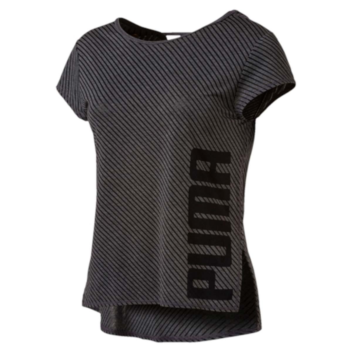 Футболка для танцев женская Puma Dancer Drapey Tee, цвет: черный. 515121_01. Размер L (46/48)515121_01Футболка Dancer Drapey Tee отлично подойдет для самых интенсивных тренировок. Оригинальный узор, нанесенный выжиганием, и глубокий вырез на спине не дадут перегреться. Дополнительные удобства создает использование высокофункциональной технологии dryCELL, которая отводит влагу, поддерживает тело сухим и гарантирует комфорт во время активных тренировок и занятий спортом. Благодаря свободному крою и прорезям по бокам ничто не стесняет движений. Футболка легко комбинируется с другими предметами одежды. Она украшена логотипом с надписью PUMA, нанесенным на подол слева сбоку по вертикали.