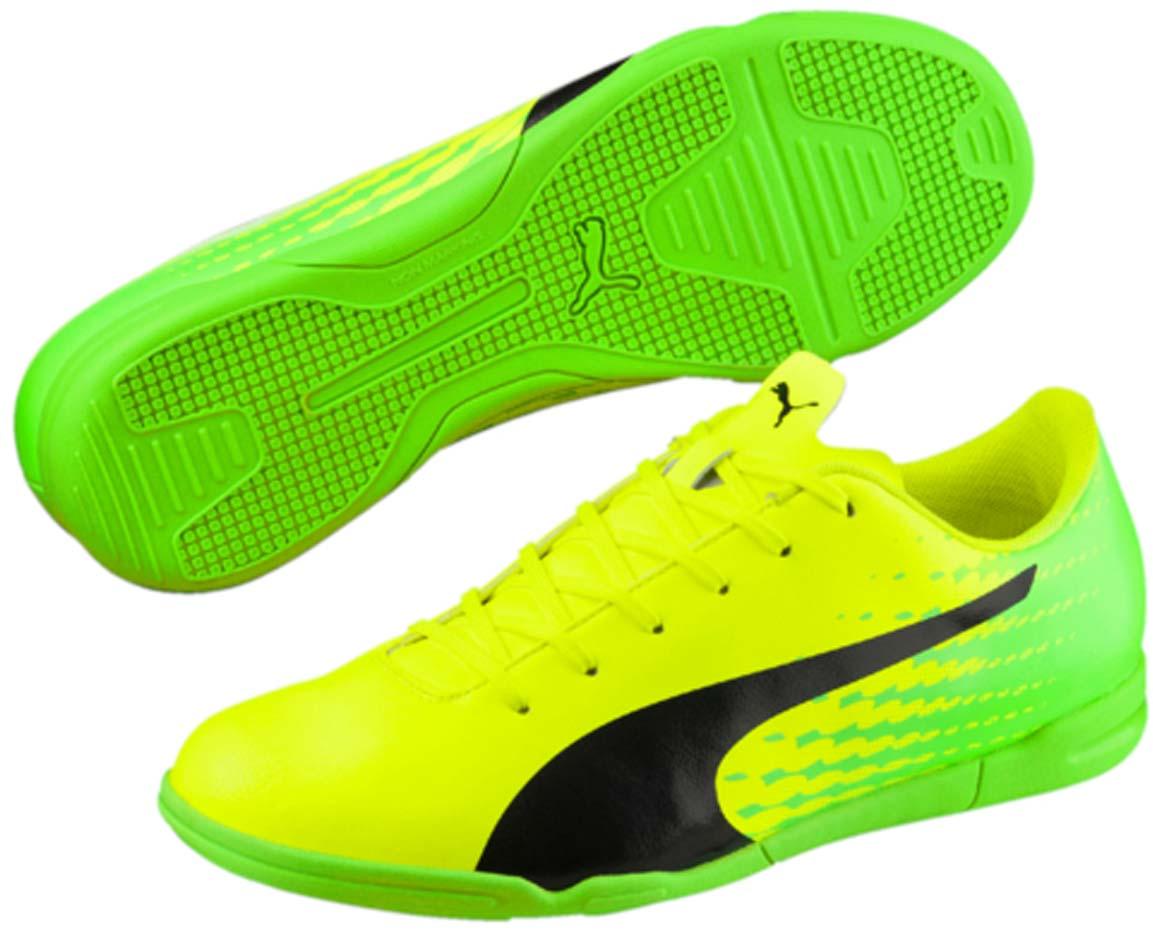 Кроссовки мужские для футзала Puma Evospeed 17.5 IT, цвет: желтый. 10402701. Размер 9 (42)10402701Новые кроссовки Evospeed 17.5 IT - это качественная модель по доступной цене в линейке футбольной обуви Evospeed от Puma, в которой прочность и комфорт сочетаются со свежим дизайном. Мягкая и прочная искусственная кожа верха вместе с удобной колодкой и прямой шнуровкой по центру обеспечивают идеальную посадку по ноге и отличное чувство мяча, а также долговечность, износостойкость и универсальность.