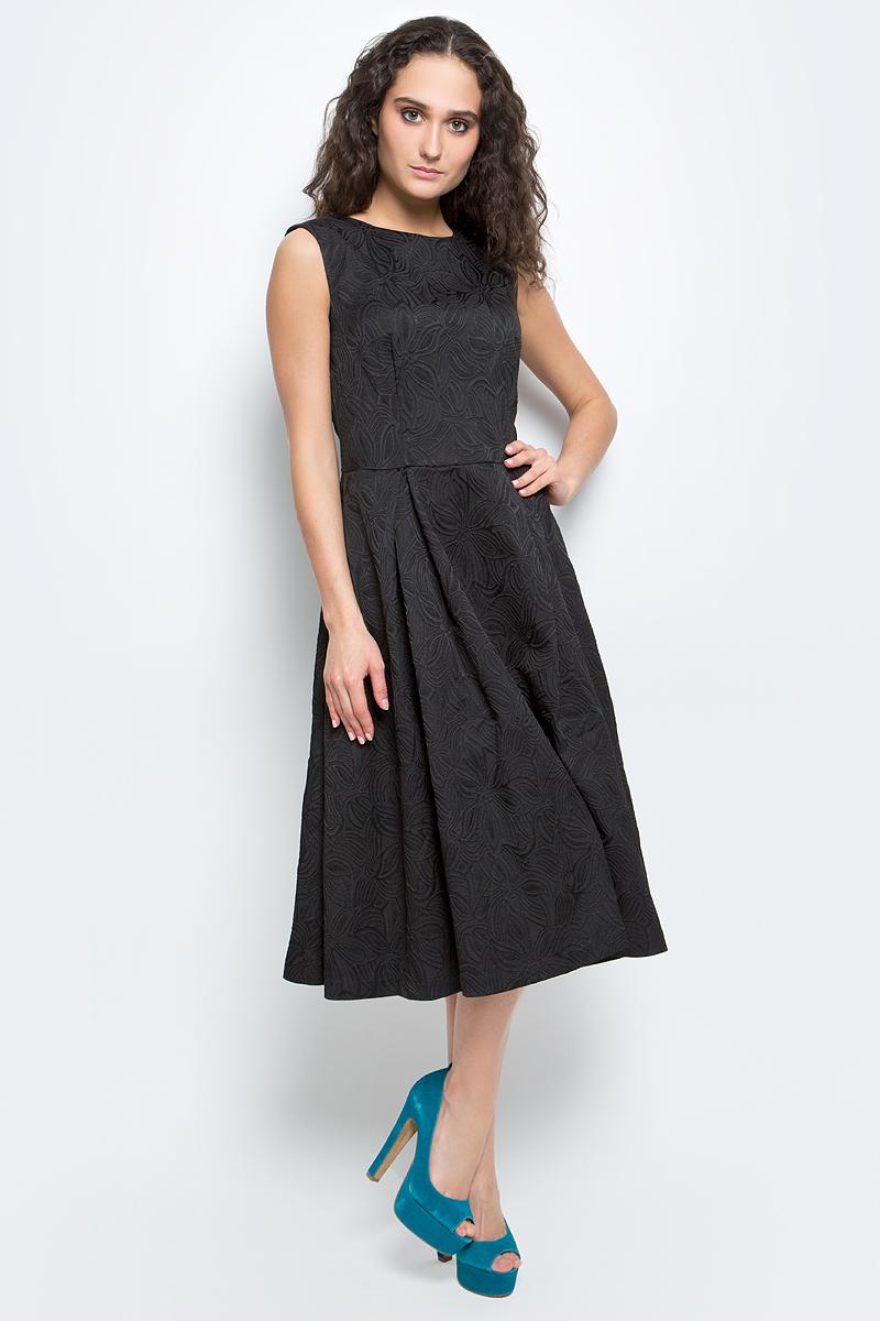 Платье Baon, цвет: черный. B457063_Black Jacquard. Размер L (48)B457063_Black JacquardСтильное платье Baon выполнено из высококачественного комбинированного материала с жаккардовым узором. Модель приталенного силуэта, без рукавов имеет круглый вырез горловины и пышную юбку. Платье застегивается на потайную застежку-молнию на спинке. В таком платье вы будете выглядеть женственно и элегантно.