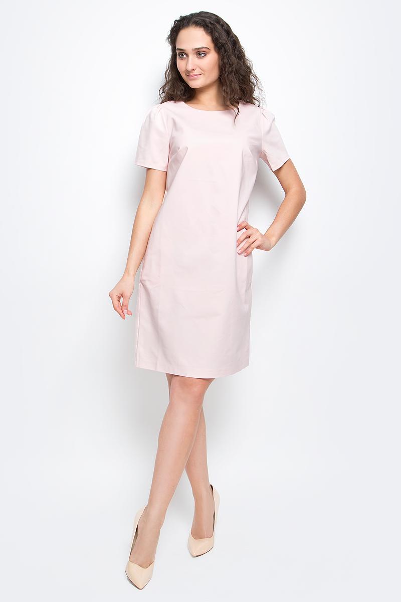 """Платье Baon, цвет: пудровый. B457037_Pearl. Размер S (44)B457037_PearlСтильное платье-футляр Baon выполнено из высококачественного материала с эффектом """"стрейч"""". Модель с круглым вырезом горловины и короткими рукавами подарит вам комфорт в течение всего дня. Платье застегивается на застежку-молнию на спинке. В таком платье вы будете выглядеть элегантно и женственно."""